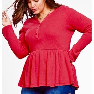 Chelsea Studio Flounced Pink Henley Plus New